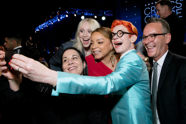 25th Annual Critics' Choice Awards - Inside [selfie,event,photography,fun,performance,gesture,flash photography,arianne phillips,gwendoline christie,sandy powell,christopher peterson,ruth carter,critics choice awards,santa monica,california,barker hangar,ruth e. carter,sandy powell,christopher peterson,arianne phillips,gwendoline christie,24th critics choice awards,25th critics choice awards,photography,actor]