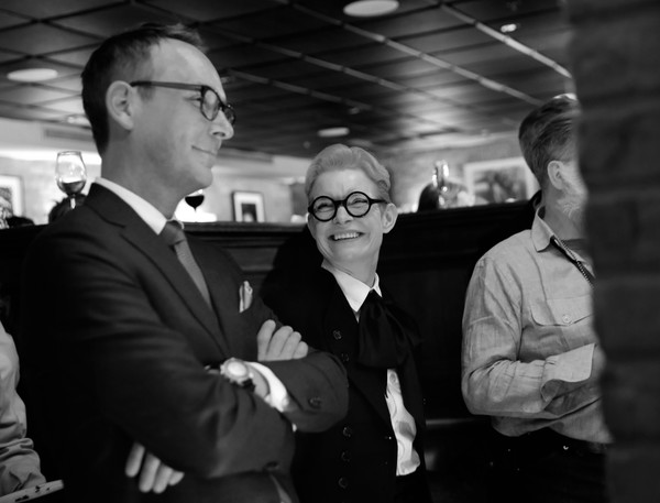 Ted's 2020 Oscar Nominee Toast [photograph,monochrome,black-and-white,snapshot,monochrome photography,suit,standing,photography,fun,businessperson,ted,oscar,christopher peterson,sandy powell,craig,nominee toast,west hollywood,california,christopher peterson,sandy powell,hollywood,photograph,the irishman,getty images,stock photography,black and white,image]