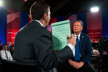 Chuck Todd GOP Presidential Candidate John Kasich Participates in Television Town Hall Meeting