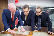 Michael Bishop Director, The National Churchill Library and Center, Director Joe Wright and Actor Gary Oldman at Churchill Library Meet and Greet - Darkest Hour Tour at National Churchill Library and Center on November 3, 2017 in Washington, DC.
