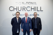 Director Joe Wright, Michael Bishop Director, The National Churchill Library and Center and Actor Gary Oldman at Churchill Library Meet and Greet - Darkest Hour Tour at National Churchill Library and Center on November 3, 2017 in Washington, DC.