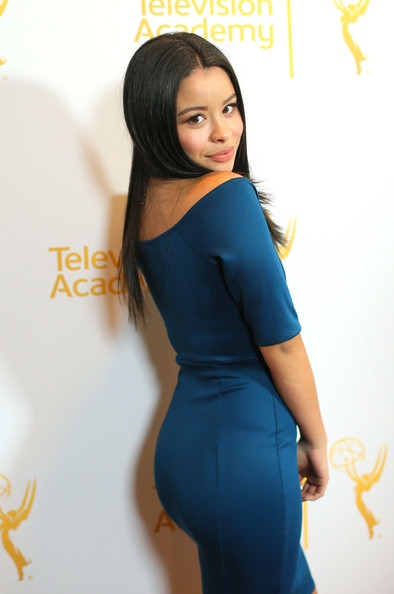 An Evening with 'The Fosters' in Hollywood [clothing,shoulder,waist,dress,cocktail dress,electric blue,long hair,beauty,hairstyle,lady,the fosters,television academy presents an evening with,north hollywood,california,el portal theatre,cierra ramirez,arrivals]