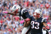 Dont'a Hightower #54 of the New England Patriots and Jabaal Sheard #93 celebrate a sack against the Cincinnati Bengals at Gillette Stadium on October 16, 2016 in Foxboro, Massachusetts.