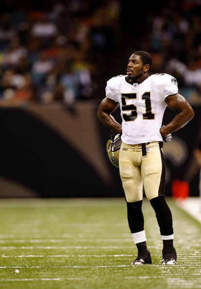 Jonathan Vilma Linebacker Jonathan Vilma #51 of the New Orleans Saints looks on during the preseason game against  the Cincinnati Bengals on August 14, 2009 at the Superdome in New Orleans, Louisiana.