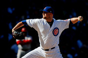 Jon Lester #34 of the Chicago Cubs pitches against the Cincinatti Reds during the first inning at Wrigley Field on September 30, 2017 in Chicago, Illinois.