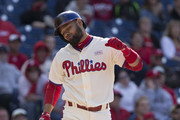 Andres Blanco #4 of the Philadelphia Phillies reacts during his at-bat in the bottom of the eighth inning against the Cincinnati Reds at Citizens Bank Park on May 15, 2016 in Philadelphia, Pennsylvania. The Reds defeated the Phillies 9-4.