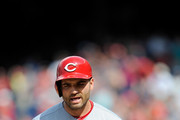 Joey Votto #19 of the Cincinnati Reds reacts after being called out on strikes to end the game in the ninth inning against the Washington Nationals at Nationals Park on August 5, 2018 in Washington, DC.