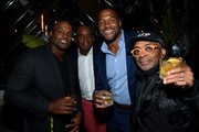 Dwight Freeney, Ahmad Rashad, Michael Stahan and Spike Lee attend the Cincoro Tequila launch at CATCH Steak on September 18, 2019 in New York City.