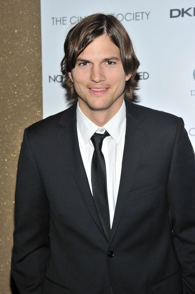 "Actor Ashton Kutcher attends the Cinema Society with DKNY Jeans & DeLeon Tequila screening of ""No Strings Attached"" at the Tribeca Grand Hotel on January 20, 2011 in New York City."