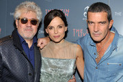 """(L-R) Director Pedro Almodovar, actress Elena Anaya, and actor Antonio Banderas attend the Cinema Society & DeLeon Tequila screening of """"The Skin I Live In"""" at the Tribeca Grand Hotel on October 13, 2011 in New York City."""