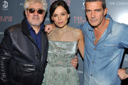 """Director Pedro Almodovar, actress Elena Anaya, and actor Antonio Banderas attend the Cinema Society & DeLeon Tequila screening of """"The Skin I Live In"""" at the Tribeca Grand Hotel on October 13, 2011 in New York City."""
