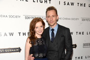 """Actors Tom Hiddleston and Wrenn Schmidt attend The Cinema Society With Hestia & St-Germain Host a Screening of Sony Pictures Classics' """"I Saw the Light"""" at Metrograph on March 24, 2016 in New York City."""