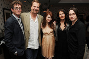 """Writer/director Kieran Mulroney, actor Jeff Daniels, actress Emma Stone, writer/director Michele Mulroney, and actor Kieran Culkin attend the Cinema Society with UGG & Suffolk County Film Commission's after party for """"Paper Man"""" at the Crosby Street Hotel on April 5, 2010 in New York City."""