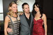 """(L to R) Actors Hilary Swank, Sam Rockwell, and Juliete Lewis attend the Cinema Society & Laura Mercier screening of """"Conviction"""" at Tribeca Grand Hotel on October 12, 2010 in New York City."""