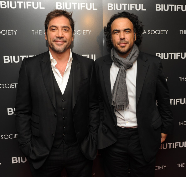 "Actor Javier Bardem and director Alejandro Gonzalez Inarritu attend a screening of ""Biutiful"" hosted by the Cinema Society with Miuccia Prada, Sandra Brant & Ingrid Sischy at the Lighthouse Theater on December 1, 2010 in New York City."