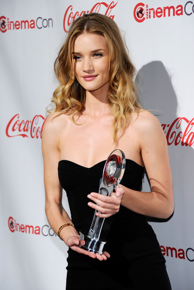 Actress Rosie Huntington-Whiteley, recipient of the Female Star of Tomorrow award, arrives at the CinemaCon awards ceremony at the Pure Nightclub at Caesars Palace during CinemaCon, the official convention of the National Association of Theatre Owners, March 31, 2011 in Las Vegas, Nevada.