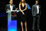 """(L-R) Director Jon M. Chu, actress Adrianne Palicki and actor D.J. Cotrona promote their upcoming movie, """"G.I. Joe: Retaliation"""" at a Paramount Pictures and DreamWorks Animation event at The Colosseum at Caesars Palace during the opening night of CinemaCon, the official convention of the National Association of Theatre Owners, April 23, 2012 in Las Vegas, Nevada."""