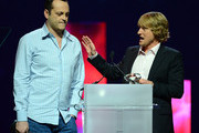 Actors Vince Vaughn (L) and Owen Wilson accept Comedy Duo of the Year Award at the CinemaCon awards ceremony at The Colosseum at Caesars Palace during CinemaCon, the official convention of the National Association of Theatre Owners, on April 18, 2013 in Las Vegas, Nevada.