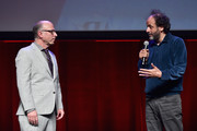 Head of Marketing & Distribution at Amazon Studios, Bob Berney (L) and director Luca Guadagnino speak onstage during CinemaCon 2018- Amazon Studios: An Exciting New Year of Great Product for Cinemas Program at Caesars Palace during CinemaCon, the official convention of the National Association of Theatre Owners, on April 26, 2018 in Las Vegas, Nevada.