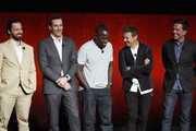 """(L-R) Actors Jake Johnson, Jon Hamm, Hannibal Buress, Jeremy Renner and Ed Helms speak onstage during CinemaCon 2018 Warner Bros. Pictures Invites You to """"The Big Picture"""", an Exclusive Presentation of our Upcoming Slate at The Colosseum at Caesars Palace during CinemaCon, the official convention of the National Association of Theatre Owners, on April 24, 2018 in Las Vegas, Nevada."""