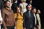 """(L-R) Actors Bradley Cooper, Isla Fisher, Will Arnett, Jeremy Renner and Jake Johnson onstage during CinemaCon 2018 Warner Bros. Pictures Invites You to """"The Big Picture"""", an Exclusive Presentation of our Upcoming Slate at The Colosseum at Caesars Palace during CinemaCon, the official convention of the National Association of Theatre Owners, on April 24, 2018 in Las Vegas, Nevada."""