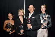 (L-R) Natalia Reyes, Linda Hamilton, Gabriel Luna, and Mackenzie Davis, recipients of the CinemaCon Ensemble award, attends The CinemaCon Big Screen Achievement Awards Brought to you by The Coca-Cola Company at OMNIA Nightclub at Caesars Palace during CinemaCon, the official convention of the National Association of Theatre Owners, on April 4, 2019 in Las Vegas, Nevada.