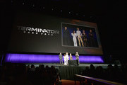 (L-R) Gabriel Luna, Natalia Reyes, Mackenzie Davis, Linda Hamilton, and Arnold Schwarzenegger speak onstage at CinemaCon 2019- Paramount Pictures Invites You to an Exclusive Presentation Highlighting Its Upcoming Slate at The Colosseum at Caesars Palace during CinemaCon, the official convention of the National Association of Theatre Owners, on April 4, 2019 in Las Vegas, Nevada.