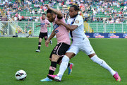 Fabrizio Miccoli (L) of Palermo and Alvaro Pereira of Inter compete for the ball during the Serie A match between US Citta di Palermo and FC Internazionale Milano at Stadio Renzo Barbera on April 28, 2013 in Palermo, Italy.