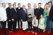 (L-R) Spirit Music Group Chairman David Renzer, music executive Doug Davis, Universal Music Publishing Group North America President Evan Lamberg, songwriter Dr. Luke, producer Clive Davis, Virgin Records CCO/EVP Ron Fair, President of the National Academy of Recording Arts and Sciences Neil Portnow, composer Brian Tyler, Stefanie Ridel, and Universal Music Publishing Group Chairman/CEO Zach Horowitz arrive at City of Hope's 10th Anniversary 'Songs Of Hope' on June 4, 2014 in Brentwood, California.