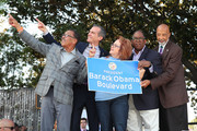 Herb Wesson, Eric Garcetti, Maria Elena Durazo, Mark Ridley Thomas? and Michael Lawson attend the official unveiling of City Of Los Angeles' Obama Boulevard in honor of the 44th President of the United States of America on May 04, 2019 in Los Angeles, California.