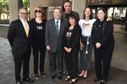 "Dr. David M. Carlisle, Rusty Robertson, Paul Koretz, Jimmy Smits, Sue Schwartz, Bree Turner and Kathleen Lopp attend a ceremony Proclaiming September 7, 2018 as official ""Step Up To Cancer"" Day In Los Angeles at Los Angeles City Hall on August 29, 2018 in Los Angeles, California."