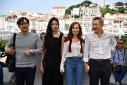 (FromL) South Korean actor Jeong Jin-young, South Korean actress Kim Min-hee, French actress Isabelle Huppert and South Korean director Hong Sang-soo pose on May 21, 2017 during a photocall for the film 'Claire's Camera (Keul-Le-eE-Ui-Ka-Me-La)' at the 70th edition of the Cannes Film Festival in Cannes, southern France.  / AFP PHOTO / Alberto PIZZOLI