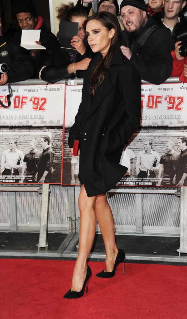 "Victoria Beckham attends the World premiere of ""The Class of 92"" at Odeon West End on December 1, 2013 in London, England."