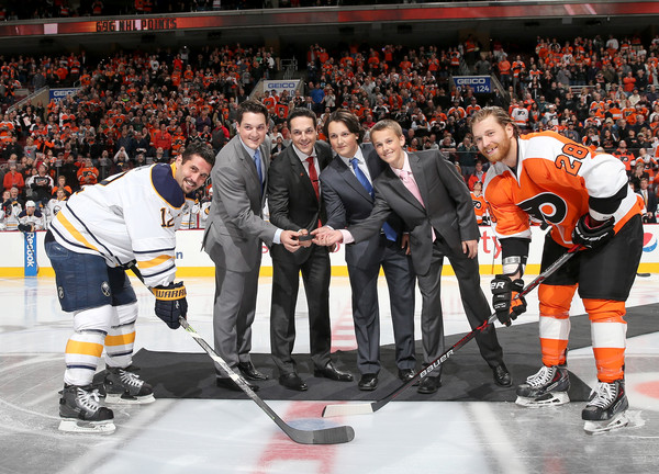 Buffalo Sabres v Philadelphia Flyers [ice hockey,college ice hockey,player,team sport,hockey,sports,tournament,stick and ball games,jersey,team,danny briere,brian gionta,claude giroux,sons,caelan briere,puck,philadelphia,philadelphia flyers,buffalo sabres,ceremony]