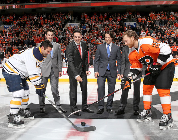 Buffalo Sabres v Philadelphia Flyers [player,team sport,college ice hockey,tournament,sports,ice hockey,sports gear,team,stick and ball games,jersey,danny briere,brian gionta,claude giroux,sons,caelan briere,puck,philadelphia,philadelphia flyers,buffalo sabres,ceremony]