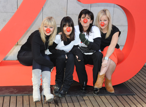 25 Years Of Comic Relief's Red Nose Day - Photocall [social group,red,fun,photography,leggings,kate thorton,helen skelton,emma freud,claudia winkleman,comic relief,photocall,southbank centre,england,london,red nose]