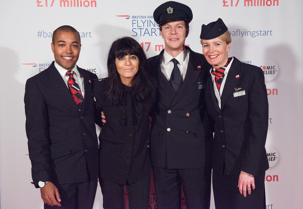 British Airways Celebrate Raising £17 Million for Comic Relief [uniform,event,formal wear,suit,official,military uniform,white-collar worker,premiere,wesley goode,jane lloyd mostyn,claudia winkleman,james van der hoorn,comic relief,l-r,british airways,airline,flying start partnership,event]