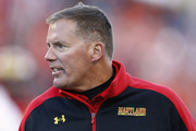 Head coach Randy Edsall of the Maryland Terrapins reacts during the game against the Clemson Tigers at Byrd Stadium on October 26, 2013 in College Park, Maryland.