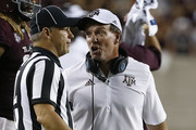 Head coach Jimbo Fisher of the Texas A&M Aggies argues with a game official after a call was confirmed as a touchback in the fourth quarter Clemson Tigers  at Kyle Field on September 8, 2018 in College Station, Texas.