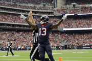 Braxton Miller #13 of the Houston Texans celebrates after a touchdown in the second quarter against the Cleveland Browns at NRG Stadium on October 15, 2017 in Houston, Texas.