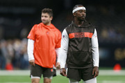 Tyrod Taylor #5 and Baker Mayfield #6 of the Cleveland Browns stand on the field before action against the New Orleans Saints at Mercedes-Benz Superdome on September 16, 2018 in New Orleans, Louisiana.