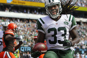 Chris Ivory #33 of the New York Jets reacts after scoring a touchdown against the Cleveland Browns during the second quarter of a game at MetLife Stadium on September 13, 2015 in East Rutherford, New Jersey. The Jets won 31-10.