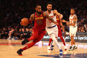 LeBron James #23 of the Cleveland Cavaliers handles the ball against Courtney Lee #5 of the New York Knicks in the first half at Madison Square Garden on April 9, 2018 in New York City. NOTE TO USER: User expressly acknowledges and agrees that, by downloading and or using this photograph, User is consenting to the terms and conditions of the Getty Images License Agreement.