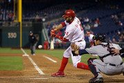 Andres Blanco #4 of the Philadelphia Phillies hits a ground ball fielders choice in the 10th inning during a game against the Cleveland Indians at Citizens Bank Park on April 29, 2016 in Philadelphia, Pennsylvania. The Phillies won 4-3 in 11 innings.
