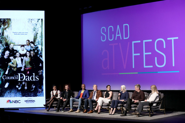 """SCAD aTVfest 2020 - """"Council Of Dads"""" [product,stage,event,convention,design,font,display device,performance,media,brand,michele weaver,michael oneill,sarah wayne callies,j. august richards,clive standen,tony phelan,joan rater,l-r,council of dads,scad atvfest,public relations,communication,presentation,convention,display device,public]"""