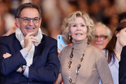 David Kimelfeld (L) and Jane Fonda attend closing ceremony At 10th Film Festival Lumiere on October 21, 2018 in Lyon, France.