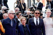 """(L-R) Robin Campillo, Kelly Reichardt, Alejandro Gonzalez Inarritu and Elle Fanning attend the closing ceremony screening of """"The Specials"""" during the 72nd annual Cannes Film Festival on May 25, 2019 in Cannes, France."""
