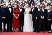 """(L-R) Jury Members Robin Campillo, Pawel Pawlikowski, Alice Rohrwacher, Enki Bilal, Elle Fanning, Yorgos Lanthimos, Alejandro Gonzalez Inarritu and Kelly Reichardt attend the closing ceremony screening of """"The Specials"""" during the 72nd annual Cannes Film Festival on May 25, 2019 in Cannes, France."""