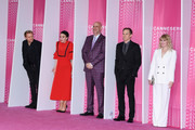 """(L-R) Marc Warren,Amanda Abbington, Harlan Coben,Michael C. Hall and Hannah Jane Arterton from the serie """"Safe"""" attend the Closing Ceremony and """"Safe"""" screening during the 1st Cannes International Series Festival at Palais des Festivals on April 11, 2018 in Cannes, France."""