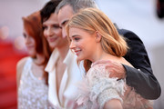 "(L-R) Kristen Stewart, Juliette Binoche, Olivier Assayas and Chloe Grace Moretz attend the ""Clouds Of Sils Maria"" premiere during the 67th Annual Cannes Film Festival on May 23, 2014 in Cannes, France."